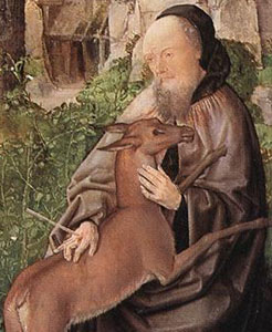 A painting depicting St. Giles.